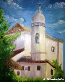 A Monastery  Acrylics on canvas by Deb Milimaka-Miles