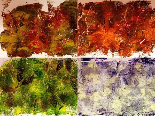 Seasons - printing study in acrylics