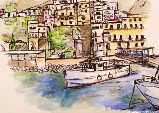 Amalfi Harbour - nib pen and watercolour