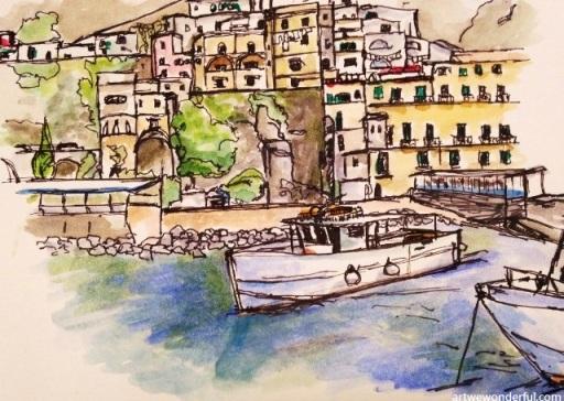 Amalfi Harbour - nib pen and watercolour
