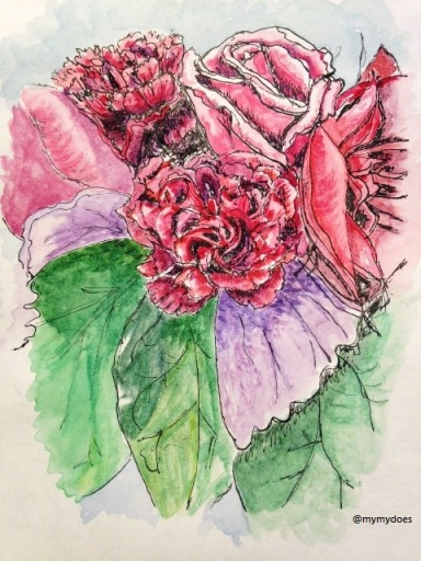 Andrea's Centerpiece - dip pen with watercolour
