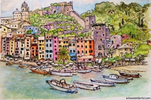 Portovenere Harbour - Pigma Micron pen .005 and watercolour