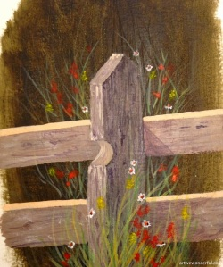 Country Fence - acrylics on acrylic paper
