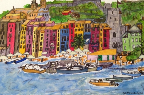 Portovenere Harbour - charcoal and watercolour