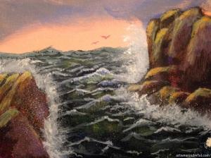 Seaside - acrylics on acrylic paper