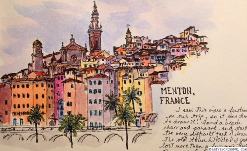Menton, France - watercolour