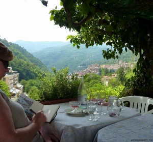 Sketching Pigna, Liguria over an amazing lunch