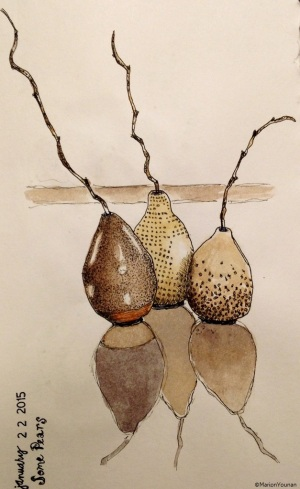 Jan 22 - Ceramic Pears on Glass