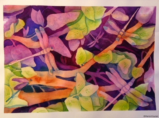 Dragonflies Among the Lilacs
