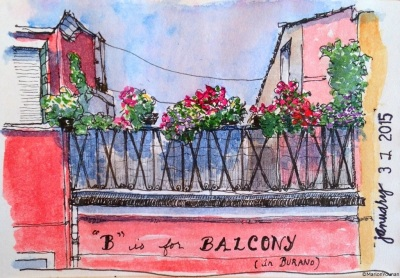January 31 - B is for Balcony (in Burano)