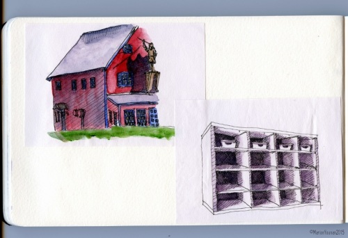 Inside the Little Sketchpad: Percé Fish Factory from a café table and A Shelving Unit Inside An Apartment