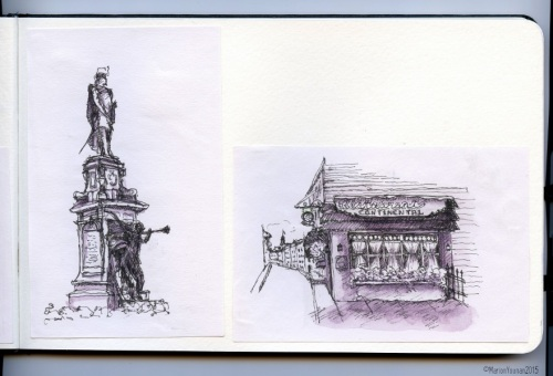 Inside the Little Sketchpad: Champlain Statue from a café table, and Rue St. Louis from a bench, Québec City