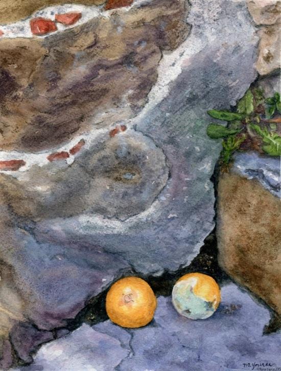 "The Forgotten Oranges of Arezzo (7""x9"" on 140 lb watercolour paper)"