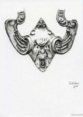 #inktober 2nd - bottom of unusual door knocker