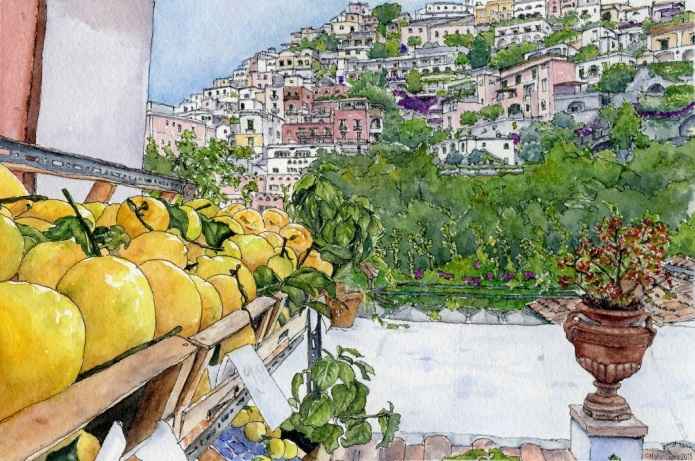 "The Lemons of Positano (6""x9"" on 140 lb watercolour paper)"