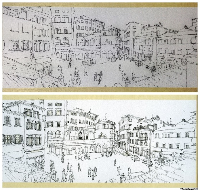 Cortona - outline ink drawing to detailed ink drawing