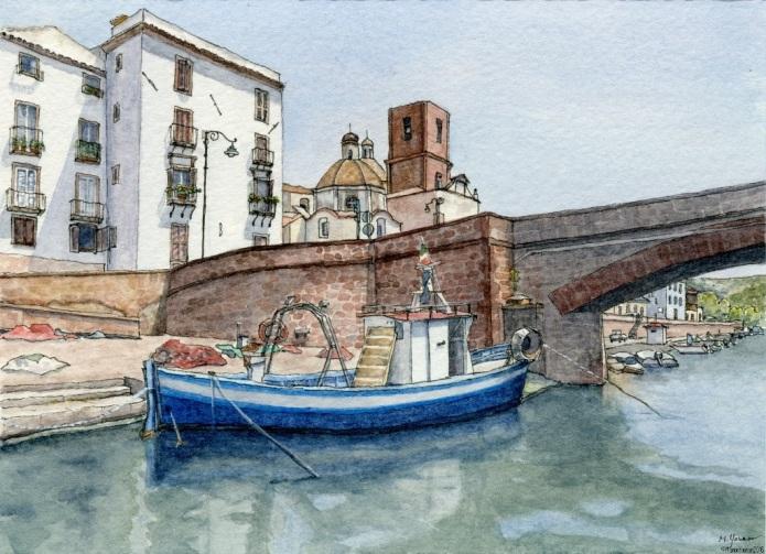 Boat at Old Bridge, Bosa Sardinia